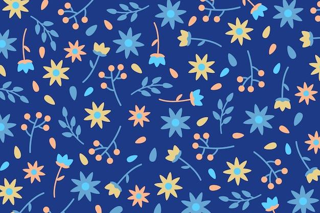 Ditsy цветы и листья распечатать фон