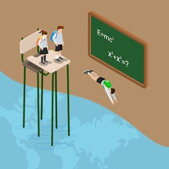 교육의 세계로 뛰어 들어 바다 평면 아이소 메트릭 지식 학교