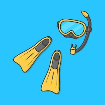 水泳アイコンイラストのダイビングマスクとゴム製フリッパー。ダイビング器材