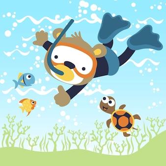 Dive with animals cartoon