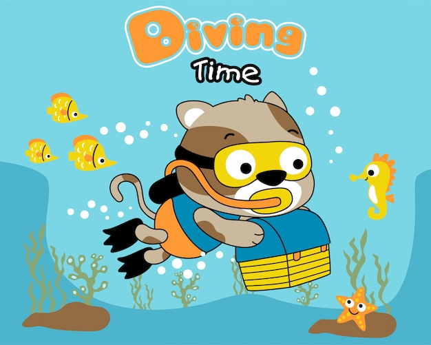Diver cat cartoon