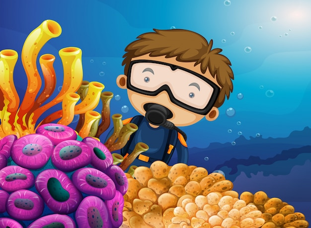 Diver diving under the ocean
