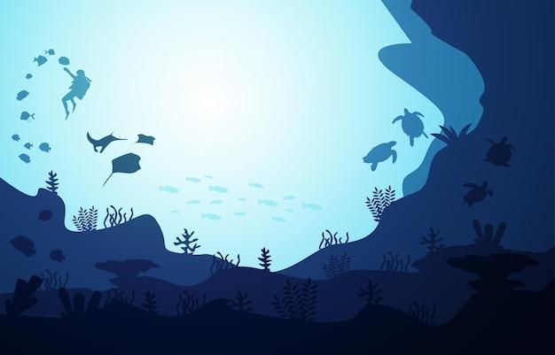 Diver diving wildlife fish sea animals underwater aquatic illustration
