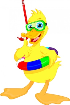 Diver duck thumb up cartoon