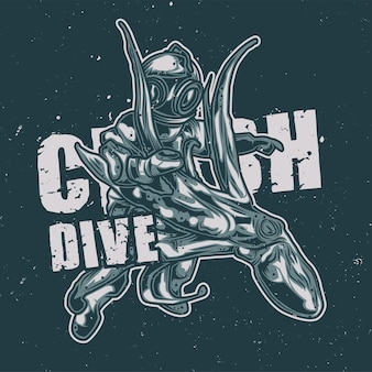 Diver fighting with an octopus illustration