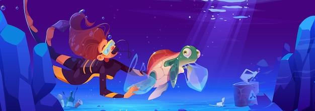 다이버 소녀는 플라스틱 쓰레기 배너로 오염 된 물에 사는 수중 동물을 돕습니다.
