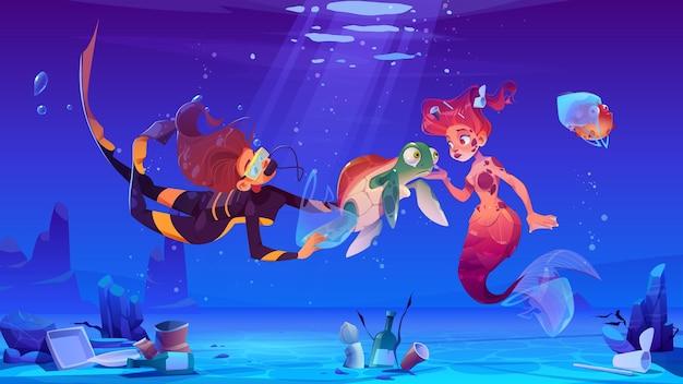 La ragazza e la sirena subacquee aiutano gli animali sottomarini che vivono in acque inquinate con la spazzatura