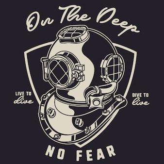 Diver helmet on deep seas