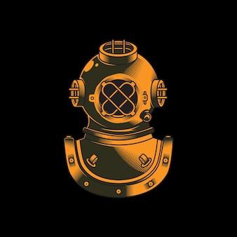 Diver helmet underwater classic logo