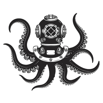 Diver helmet with octopus tentacles isolated on white background.