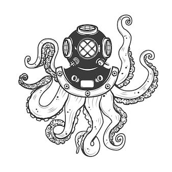 흰색 배경에 낙 지 촉수와 다이 버 헬멧입니다. 포스터 요소, 티셔츠. 삽화.
