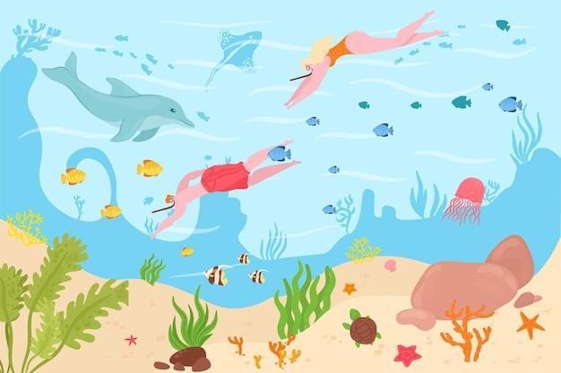 바다 수 중 다이 버, 벡터 일러스트 레이 션입니다. 남자 여자 캐릭터는 해수에서 수영하고, 마스크와 장비로 만화 스쿠버 활동을 합니다.