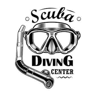 ダイバーマスクとチューブベクトルイラスト。スキューバダイビングセンターのテキスト。シュノーケリングやダイビングクラブのエンブレムやラベルテンプレートの海辺のアクティビティのコンセプト