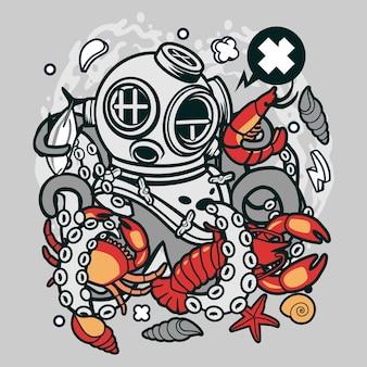 Diver octopus cartoon