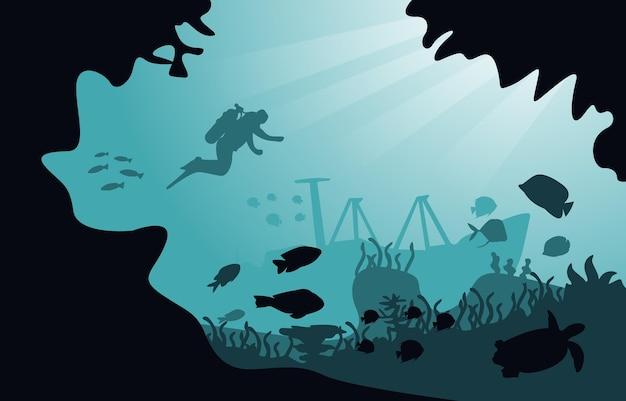 Diver sunken ship wildlife sea animals underwater aquatic illustration