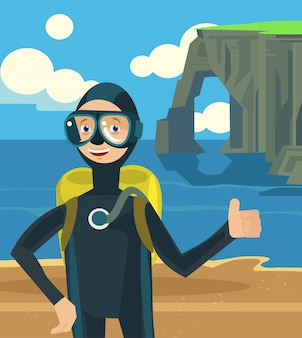 Diver on vacation character.