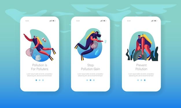 바구니 수중 모바일 앱 페이지 온보드 화면 세트에 쓰레기를 수집하는 다이버.
