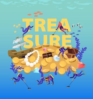 Дайверы ищут и нашли сокровища на песчаном дне океана. мультфильм плоский иллюстрация