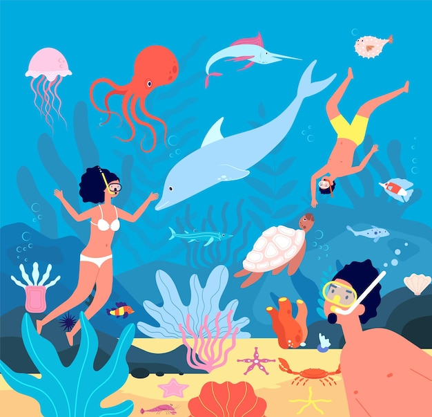 Divers. underwater swimmers, scuba leisure snorkel. diving in blue sea with fishes, corals. illustration underwater leisure, swimmer activity