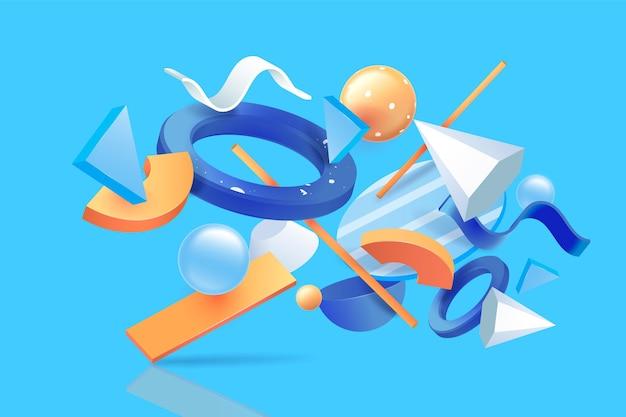 Diverse 3d shapes floating background