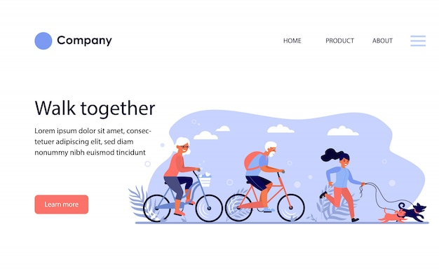 Diverse active people enjoying activities in park. website template or landing page