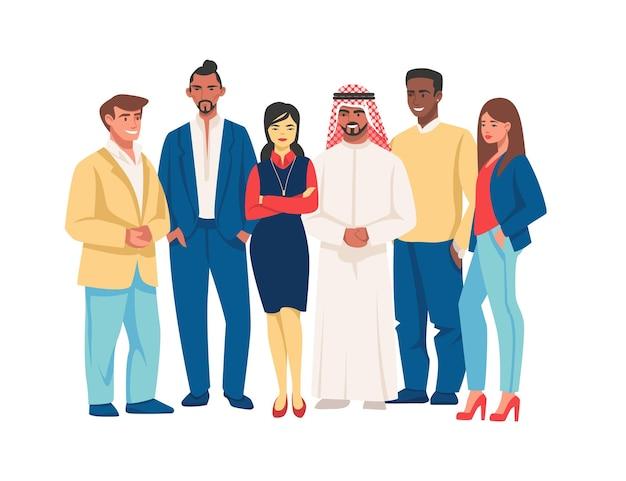 Разнообразные деловые люди. многокультурные командные персонажи, группа счастливых молодых и старых офисных работников. векторные иллюстрации мультфильм многорасовых мужчина и женщина вместе набор