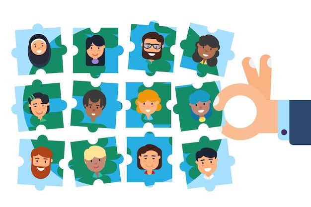 다양한 커뮤니티 팀 빌딩 퍼즐. 전세계 사람들의 다양성, 다민족 팀워크, 지구 행성 환경 문제, 인적 자원, 사업 모집