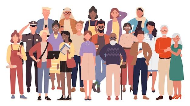 Разнообразная толпа, многорасовые, многокультурные люди, группа стариков, юношей и женщин, детей