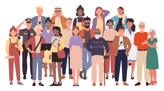 Diverse crowd multiracial multicultural people group old young men and women children