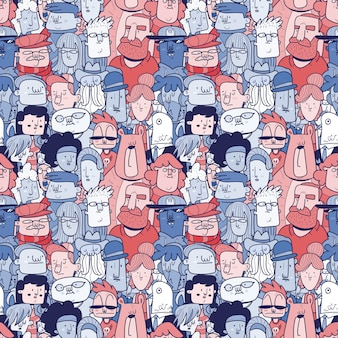 Diverse crowd of people - seamless banner of different hand drawn faces. seamless pattern