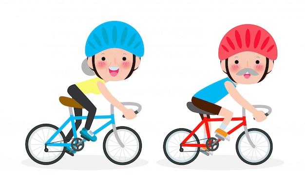 Разнообразные пожилая пара, езда на велосипеде, счастливый старик и женщина, езда на велосипеде