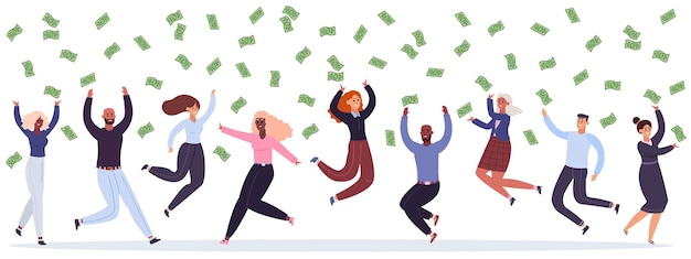 Разнообразные сотрудники ловят банкноты