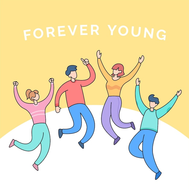 Diverse friend group of teen people for happy youth friendship forever young cartoon illustration