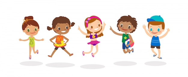 Diverse group of kids jumping isolated on white background, happy children with summer costume. vector cartoon illustration