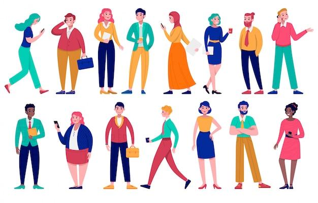 ビジネス人々イラストセット、漫画の男性女性キャラクター、白の異なる人種の多様性の多様なグループ