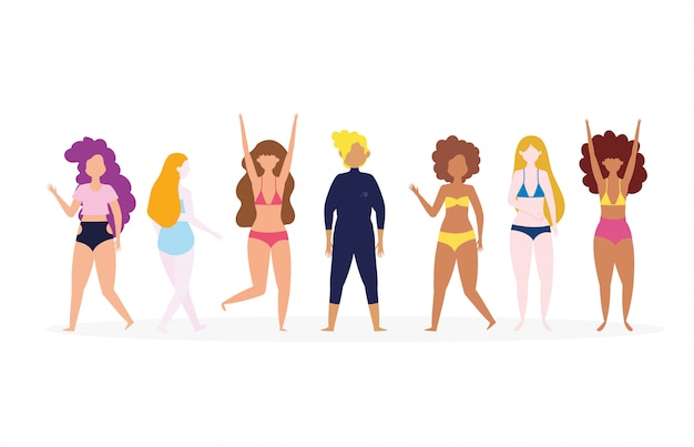 Diverse group of people in swimsuits cartoon characters