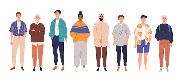 Diverse group of young men standing together. flat cartoon vector illustration.