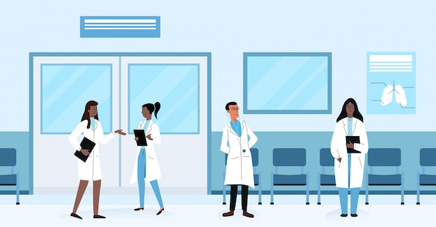 Diverse health doctors practitioners talking and standing in hallway while working in hospital  illustration.