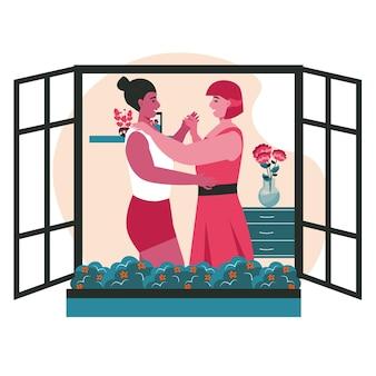 Концепция сцены разнообразных гомосексуальных многорасовых лесбийских пар. женщины танцуют в окне здания. семья, романтические отношения, деятельность людей. векторная иллюстрация персонажей в плоском дизайне