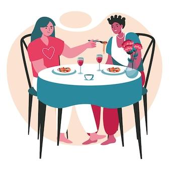 다양한 동성애 다인종 레즈비언 커플 장면 개념입니다. 여성들은 레스토랑에서 저녁을 먹습니다. 가족, 낭만적 인 관계, 사람들의 활동. 평면 디자인에 문자의 벡터 일러스트 레이 션