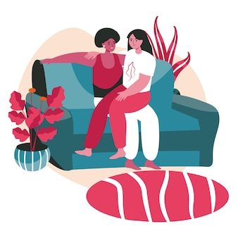 Diverse homosexual multiracial lesbian couples scene concept. women hugging while sitting on sofa. family, romantic relationship, people activities. vector illustration of characters in flat design
