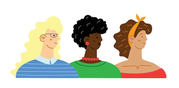 立っている女性の多様な国際的および異人種間のグループ。女の子のパワーコンセプト、フェミニン、フェミニズムのアイデア