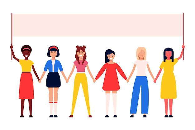 Diverse international and interracial group of standing women.