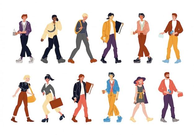 Diverse multi-ethnic people walking isolated set