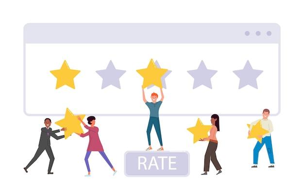 다양한 다민족 사람들이 피드백 등급 별표를 제공합니다. 클라이언트, 고객 또는 사용자 캐릭터가 개인 비평가 리뷰 벡터 일러스트레이션을 떠나는 평가를 위해 만족도 순위를 선택합니다.