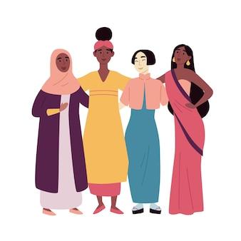 Разнообразная многорасовая и многокультурная группа людей. социальное разнообразие, дружба. африканская, азиатская