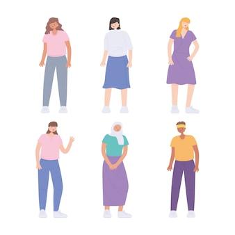 다양한 다민족 및 다문화 사람들, 다양성 젊은 여성 그룹 만화