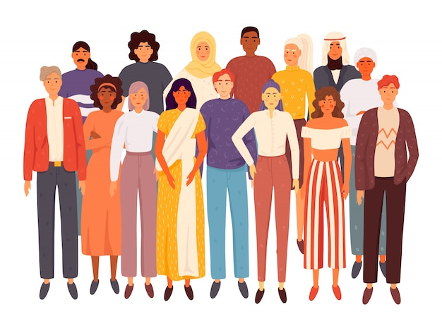 Diverse multiracial and multicultural group of people isolated. social diversity. flat cartoon  illustration