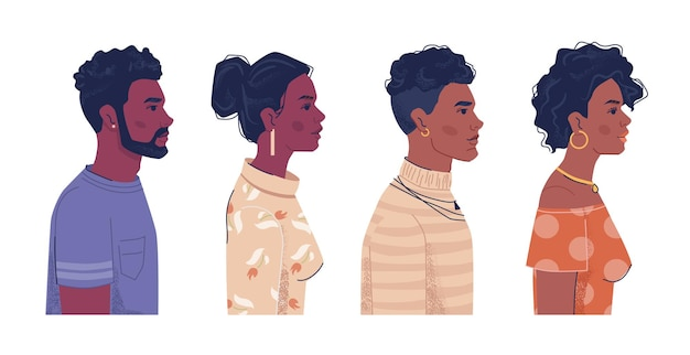 多様な人々アフロアメリカ人男性と女性の側面図の肖像画フラット漫画ベクトル黒檀黒