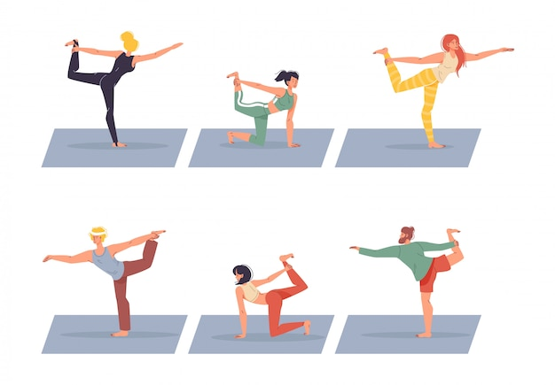 Diverse people character doing yoga isolated set